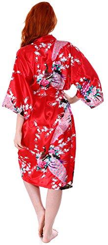 Women's Kimono Robes Peacock Blossoms Silk Satin Long Nightgown Sleepwear, Red by EPYA (Image #4)