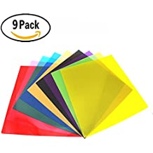 RenBa 12 x 12-Inches 9 Pack Transparent Color Correction Lighting Gel Filter , Correction Gel Light Filter Sheet ,9 Assorted Colors