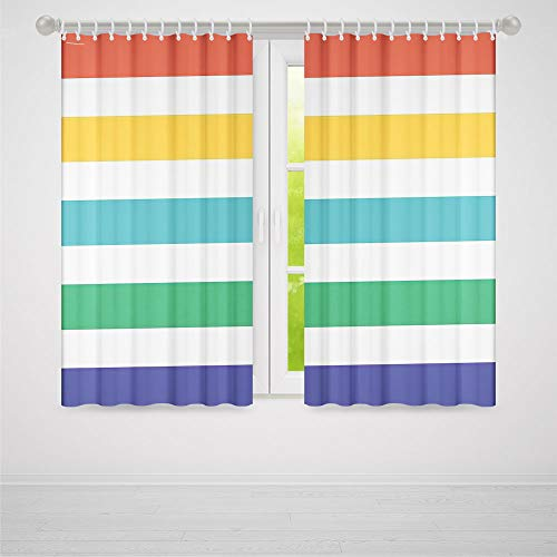 C COABALLA Blackout Bedroom Curtains,Striped,for Living Room,Rainbow Colored and White Fun Horizontal Lines Kids Room Red Yellow Blue Green Art2 Panel Set,70W X 98L Inches ()