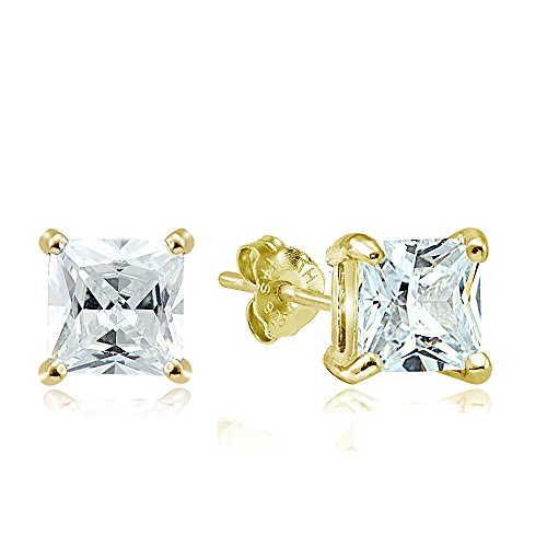 Hoops & Loops Yellow Gold Flash Sterling Silver 6ct Cubic Zirconia 8mm Square Stud Earrings