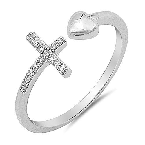 Heart and Sideways Cross Open Adjustable Ring Womens .925 Sterling Silver Cubic Zirconia Size 8