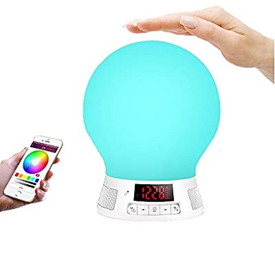 Bluetooth Speaker Lamp YASOKO Smart Sensor Touch LED Bulb Handsfree Bluetooth Speaker Music Mood Lamp with TF Card music Play and App Control Color Suitable for Outdoor/Indoor BL10w by Huteng