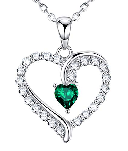 (May Birthstone LC Green Emerald Necklace Gifts for Women Sterling Silver Jewelry I Love You Love Heart Necklace Anniversary Birthday Gifts for Her Wife Grandma Girlfriend Daughter 20