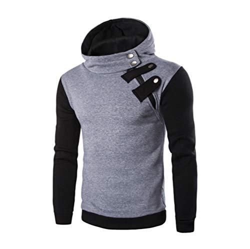 Men's Pactchwork Hooded Drawsting Long Sleeve Hoodie Sweatsh