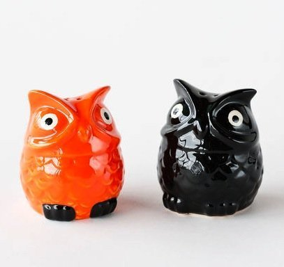 Halloween Black & Orange Owl Bird Salt and Pepper Shaker Set