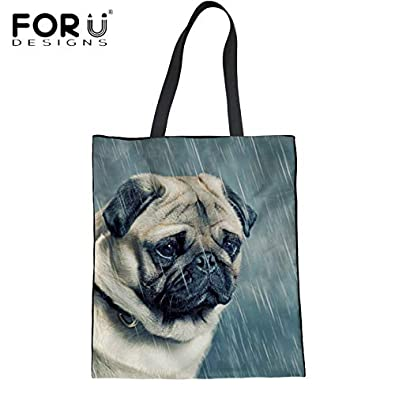 Amazon.com: FORUDESIGNS New Arrival Fashion Ladies Casual Linen Tote Handbag Cute 3D Pug Dog Print Large Shopping Bag Student Girls Book Bag Color ...