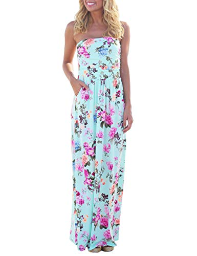 - DLDY Women's Strapless Maxi Dress,Elastic High Waist Off Shoulder Summer Beach Dresses for Womens with Pockets