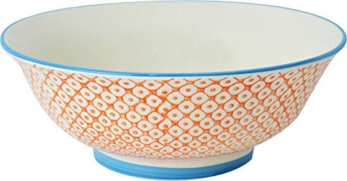 Nicola Spring Gemusterte Salat / Obst / Servierschale - 203 mm - Oranges / Blaues Design