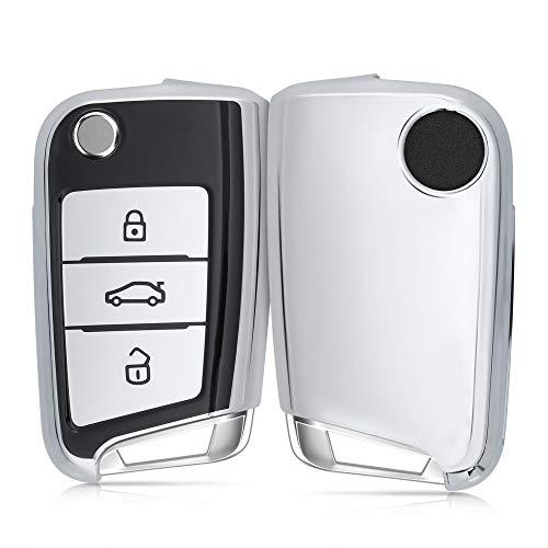 🥇 kwmobile Funda para Mando Compatible con VW Golf 7 MK7 Llave de Coche de 3 Botones – Funda TPU Llave con Botones de Llave de Auto – Negro/Plateado Brillante
