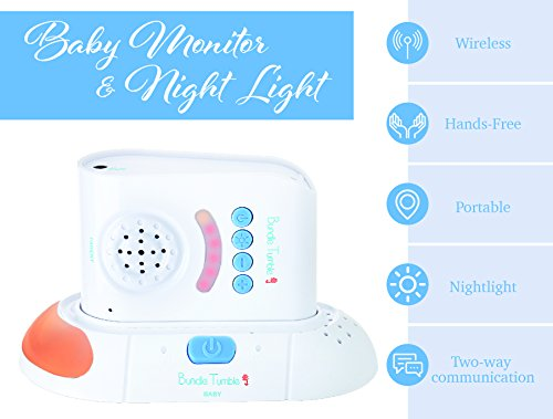 Wireless Audio Baby Monitor with Two Way Talk Back - 2,000 Square Foot Range - Sound Light Indicator - Rechargeable, Nightlight, Paging Function - by BundleTumble