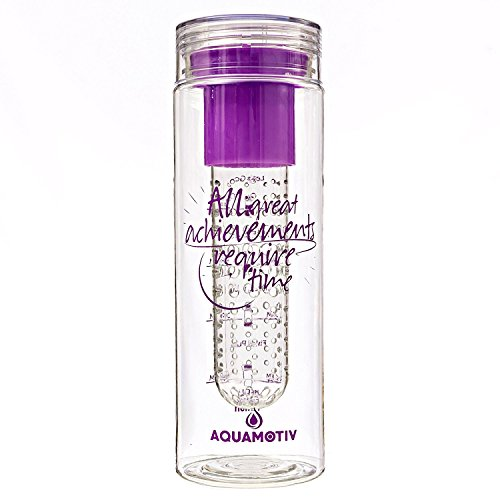"28 oz ""Great Achievements Take Time"" Inspirational Quote Water Bottle + Water Tracker with Fruit Infuser Basket 