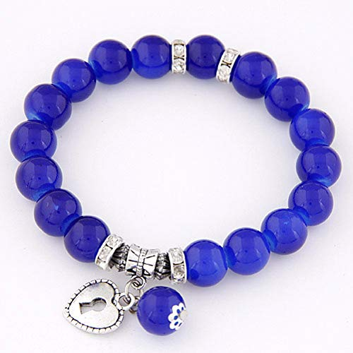 DUOJINZ Summer Candy Color Glass Beads Lock Love Heart Charm Bracelets & Bangles for Women Lover's Gift Pulseras Mujer Jewelry
