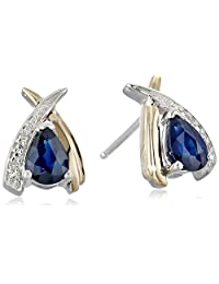 Sterling Silver and 14k Yellow Gold Pear-Shaped Blue Sapphire and Diamond-Accent Earrings