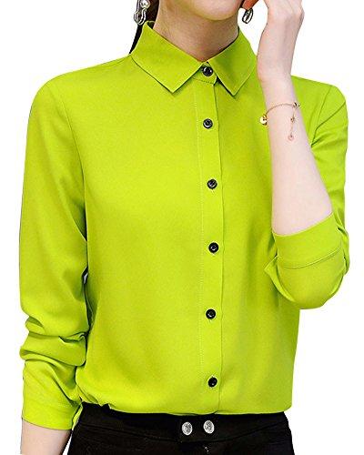 Taille Fruit avec Grande Chemisier Vert Tops Casual Femmes Manches Longues Bouton Shirts Blouse qaOE4PBwB