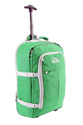 Green Wheeled Backpacks (Cabin Max Lyon Flight Approved Bag Wheeled Carry On Luggage - Backpack 22x16x8