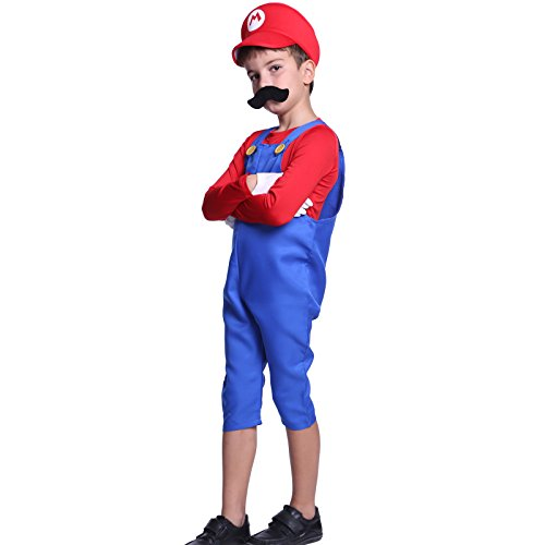 [80s Boys Kids Super Mario Luigi Bros Plumber Workman Fancy Dress Costume] (Family Themed Fancy Dress Costumes)
