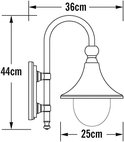 Konstsmide Bari 7237-750 Wandleuchte / B: 25cm T: 36cm H: 44cm / 1x75W / IP44 / lackiertes Aluminium / matt-schwarz