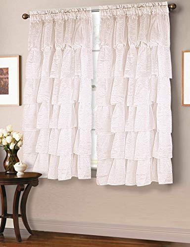 MB Collection Two Piece Crushed semi-Sheer Voile Rod Pocket Panel Gypsy Ruffle Window Treatment Curtain Panels Hem Edges Ivory, 120