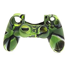 SOL Army Green Protctive Silicone Case and 2 PCS Pink Thumb Stick Grips for PS4