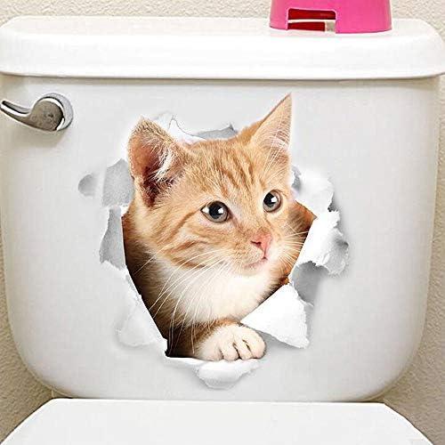 Ogquaton 3 PCS Adorable Mod/èle De Chat 3D R/éfrig/érateur Toilette Toilette Bande Dessin/ée Autocollants Home Art D/écoration Stickers