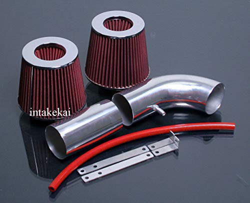 PERFORMANCE DUAL AIR INTAKE KIT + FILTER FOR 1988-1995 FORD BRONC F-150 5.0 5.0L 5.8 5.8L V8 ENGINE (WILL ONLY FIT FOR VEHICLE without THE MAF SENSOR UNIT) ()