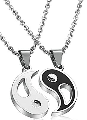 FIBO STEEL 2pcs Stainless Steel Yin Yang Pendant Necklace for Men Women Puzzle Couples Necklace,22 inches