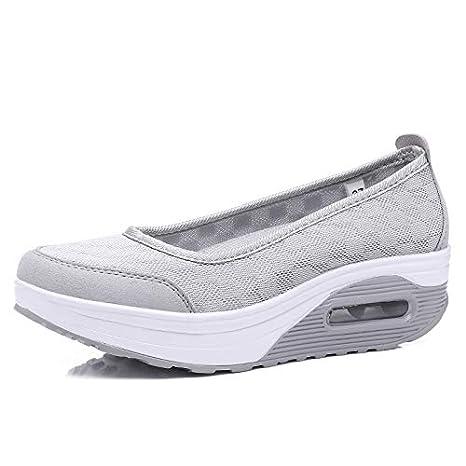 09fc6910ae3e4 Amazon.com: HuWang 2018 Spring Women mesh Casual Shoes Flat Platform ...