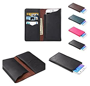 DFV mobile - Vertical Cover Premium PU Leather Case with Wallet & Card Slots for => LG Optimus F7 > Black