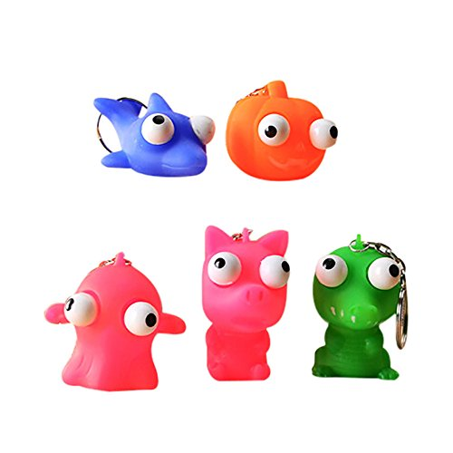 3Pcs Funny Animal Squeeze Toy Pop Out Eyes Stress Relief Key Chain Cute Squish ()