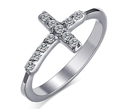 Womens Girls Stainless Steel CZ Cubic Zirconia Cross Ring for Christian Jesus Lord Prayer,Size 8 (Christmas Who Loved The Boy)
