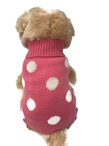 Le Petit Chien Small Dog Clothes Warm Cute French Polka Dots Pet Sweater. Winter Apparel, Puppy (X-Large, Pink)