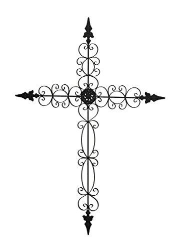 Vintage Rustic Fleur De Lis Iron Wall Cross Christian Home Decor Accent 36 Inches