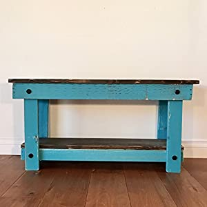 Rustic Handcrafted Reclaimed Bench - Easy Self Assembly - Natural & Teal 36x12x18