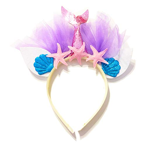 United Unicorns Best Little Mermaid Hairband Unicorn Glitter Cat Ears Headband for Girls Babies and Women Gift Ideas for Birthdays, Parties, Baby Shower (Mermaid Pink Tail and Pink Starfish)