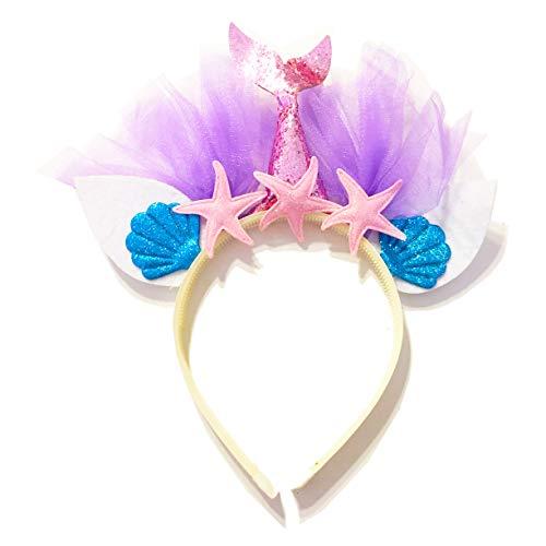 United Unicorns Best Little Mermaid Hairband Unicorn Glitter Cat Ears Headband for Girls Babies and Women Gift Ideas for Birthdays, Parties, Baby Shower (Mermaid Pink Tail and Pink Starfish) -