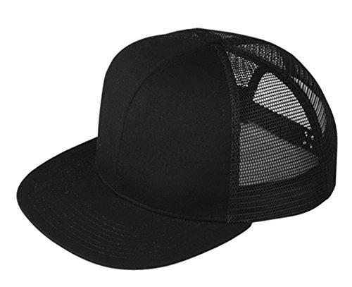 G Men's Solid Color Flat Bill Snapback Mesh Trucker Cap - Black Trucker Snapback