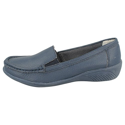 Eaze Low Wedge Ballerina Twin Gusset Navy T0jcO