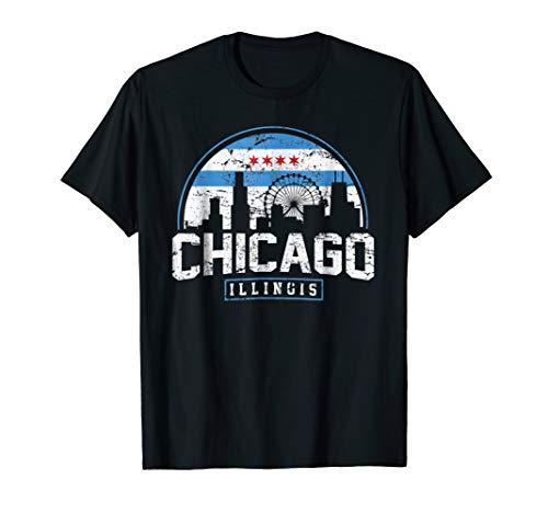 Chicago Skyline Shirt Silhouette IL City Flag T-Shirt