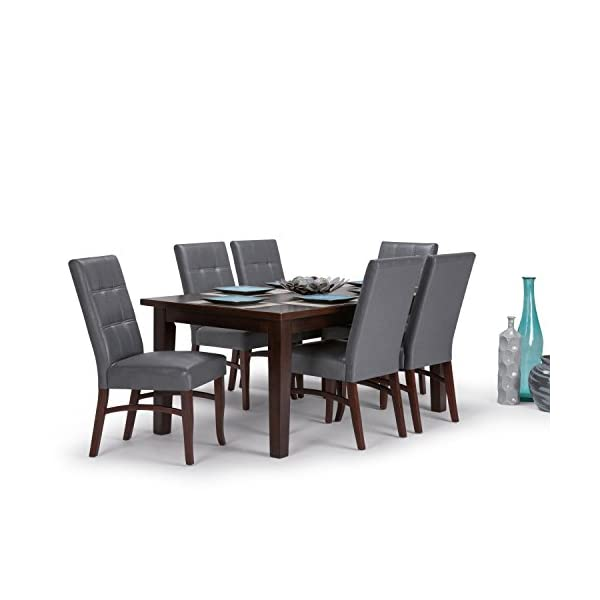 SIMPLIHOME Ezra Contemporary 7 Pc Dining Set with 6 Upholstered Dining Chairs in Stone Grey Faux Leather and 66 inch…