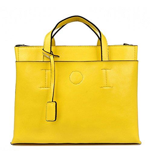 PACK Bolsos De Cuero Europa Y Los Estados Unidos Simple Moda De Las Mujeres Bolsos Bolso De Hombro De Las Señoras A:Yellow
