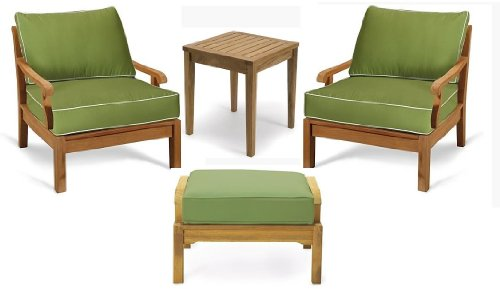 Sack Grade-A Teak Wood Luxurious 4pc Sofa Set Collection - 2 Lounge Chairs, 1 Ottoman and 1 Side Table - Furniture only #TSSSSK3