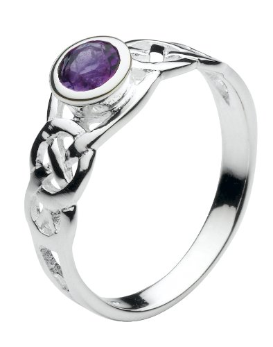 Heritage Womens Sterling Silver and Amethyst Round Celtic Ring 12002AML