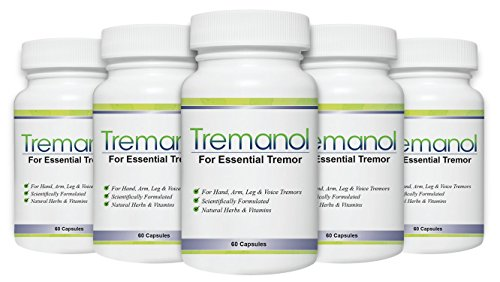 Tremanol – Pack of 5 - Natural Aid for Essential Tremor - Provides Relief for Shaky Hands, Arm, Leg, & Voice Tremors by Tremanol