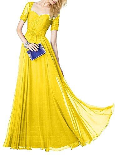 Brautmutterkleider mia Kurzarm Gelb Spitze mit Braut Abiballkleider Chiffon La Abendkleider Lang Abschlussballkleider PHIxdxqzn