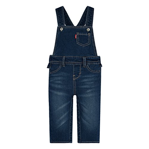 Levi's Baby Girls' Ruffle Denim Overall, Blue Winds, 6/9 Months (Baby Levi Jeans Girls)
