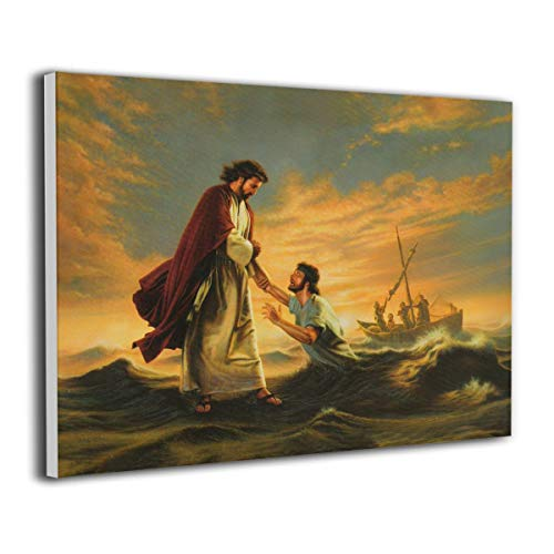 CLLWGH Paintings Wall Art Matthew Jesus and Peter Walking On The Water Modern Decorations for Living Room Bedroom Bathroom Home Decor for Living Room -