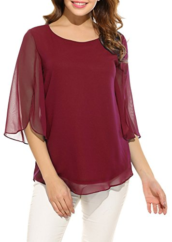 Double Layer Tunic - Oyamiki Womens Casual Chiffon Ladies Scoop Neck 3/4 Sleeve Blouse Tops Double Layers Tunic Wine Red/M