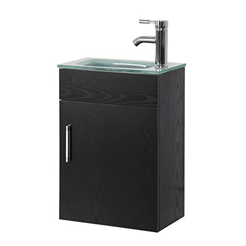 16.6 in. Wall-Mounted Vanity Set in Black with Tempered Glass Vanity Top in Clear Frosted Counter Top Sink with Single Faucet Hole by Sheffield Home
