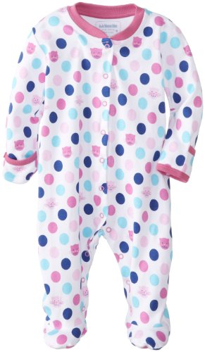 JoJo Maman Bebe Baby-Girls Newborn Spot Sleepsuit, Fuchsia, New Born