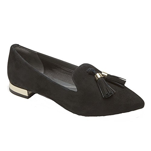 Rockport Women's Total Motion Luxe Zuly Loafer Black Suede 8.5 M US (Best Price On Rockport Shoes)